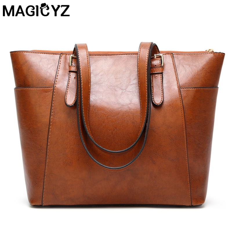 Side pocket design Women Messenger bag High Quality Casual Ladies Hand Bags Oil Wax Leather Shoulder Bag Large Capacity Tote Bag