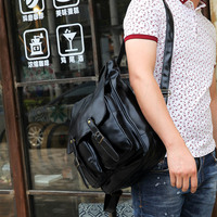 backpack Fashion Mens Quality PU Leather British Retro Style Vintage Backpack Rucksack Bag 2 Colors Hot Sale 30