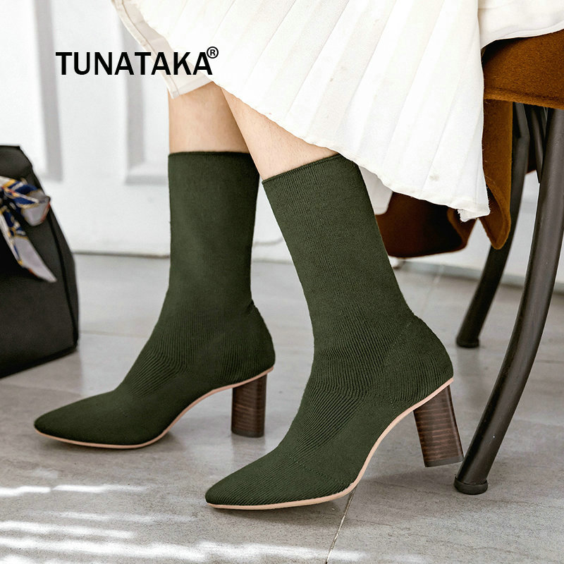 Autumn New Women Knitting Thick High Heel Slip On Mid Calf Boots Fashion Pointed Toe Women Shoes Black Apricot Green solid black winter spring women fringe decoration shoes slip on pointed toe spike high heels mid calf boots women free shipping