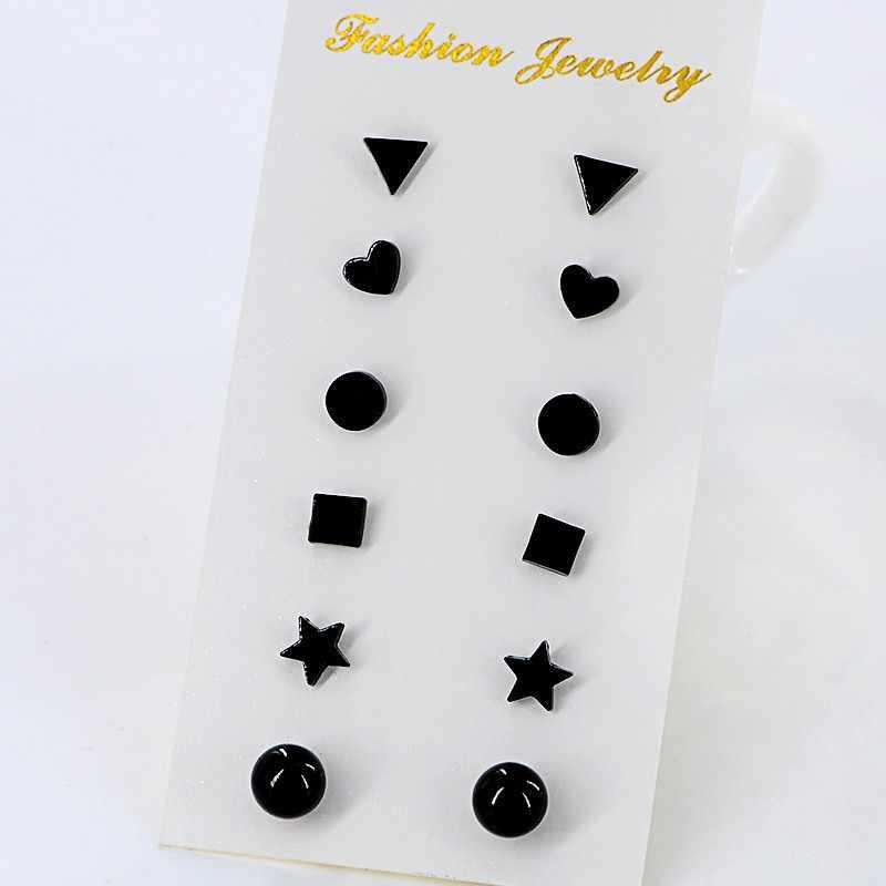 6Pairs/set New Black Flower Zircon Earrings Set For Women Simulated Pearl Piercing Geometric Star Ball Stud Earring