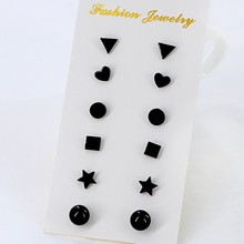 6Pairs/set New Black Flower Zircon Earrings Set For Women Simulated Pearl Piercing Geometric Star Ball Stud Earring