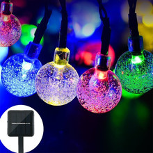 LYFS 4/6M 20/30 LED Solar Bubble String luces bombillas decorativas para árbol hogar boda fiesta jardín Garland Decoración(China)