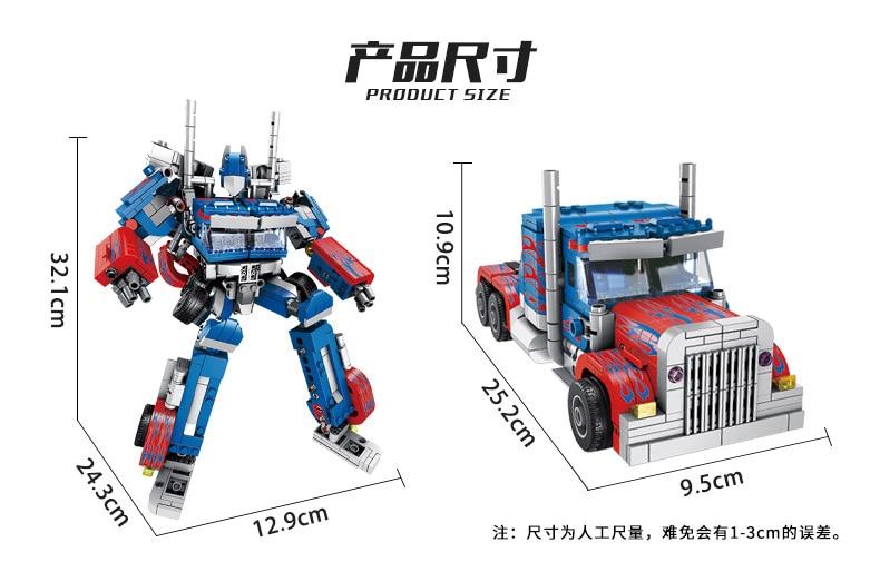 621018 Transformation technique 384 pièces 2in1 Optimus transformer premier Robot voiture gros camion blocs modèles bébé jouets - 2