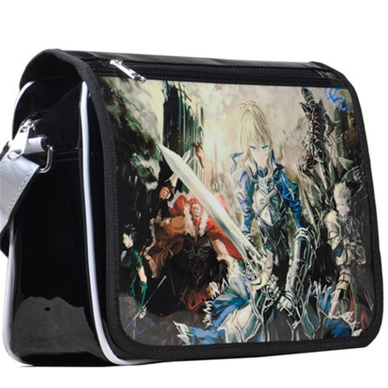 Fate Stay Night Japan Harajuku Anime Patent Leather Schoolbag Fate Zero COS Girls Boys Messenger Bags