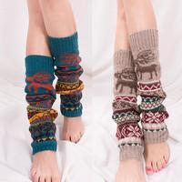 Korea Style Women Deer Snowflake Knitted Glitter Socks Female Boots Sets Soft Leg Warmers Xmas Gift Gaiters Beenwarmer BAC234
