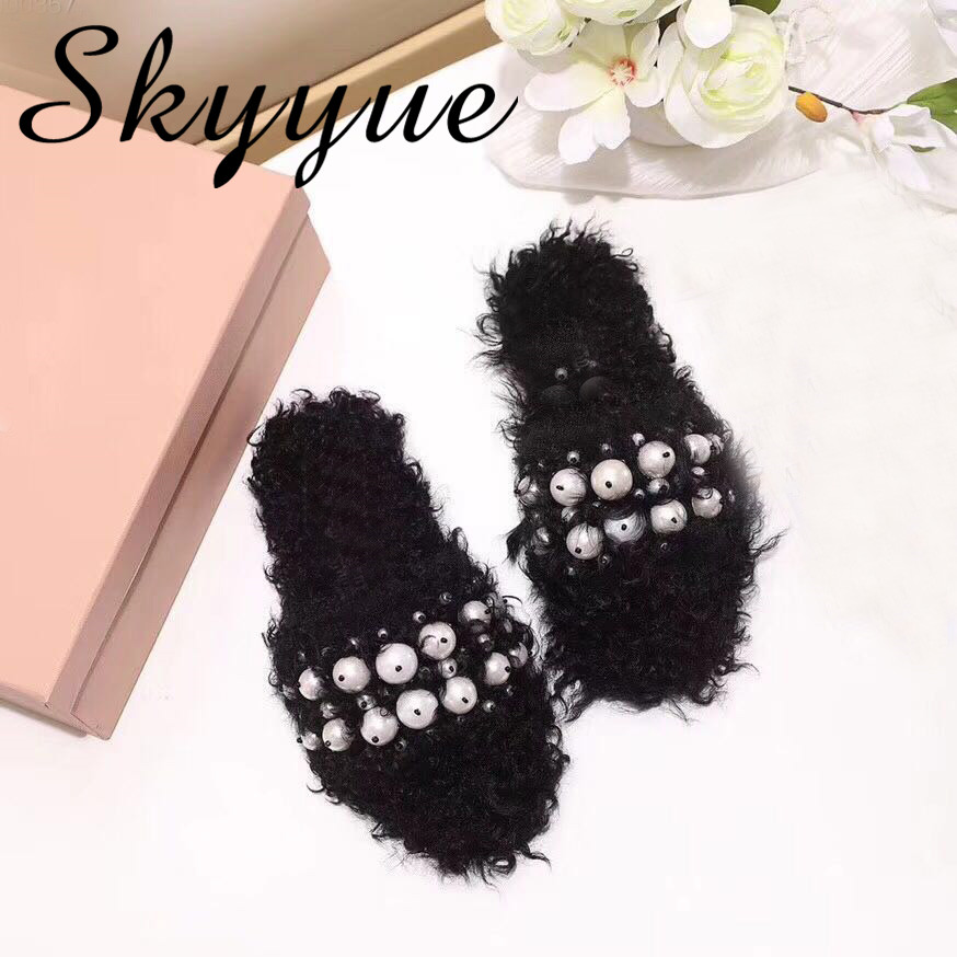 SKYYUE New Genuine Leather Black White Real Fur Women Slippers Autumn Winter Pearl Beading Outdoor Flats Slippers Shoes Women pearl beading faux fur pocket ribbed dress page 6