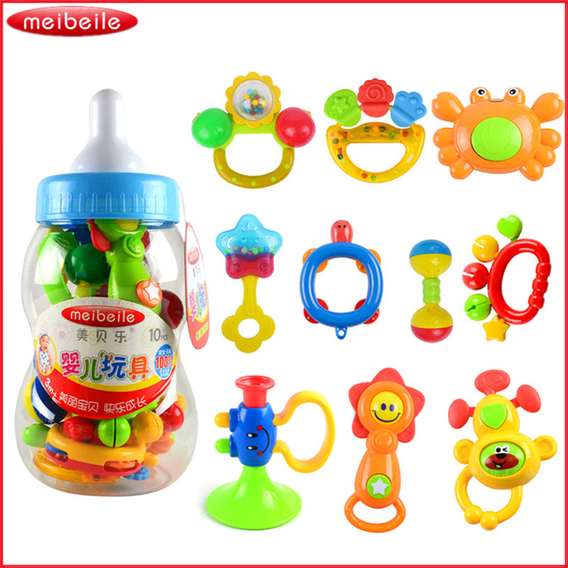 10 pieces/set Plastic Rattle Toys Feeding Bottle Baby Rattle Musical Educational Developing Toys In A Stroller For Kids Babies