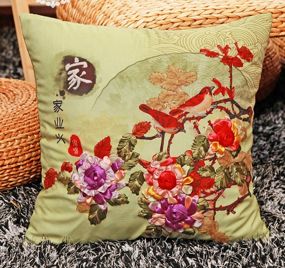 Diy Pillowcase Set: 3D family flowers Ribbon embroidery pillow cushion cover Chinese    ,