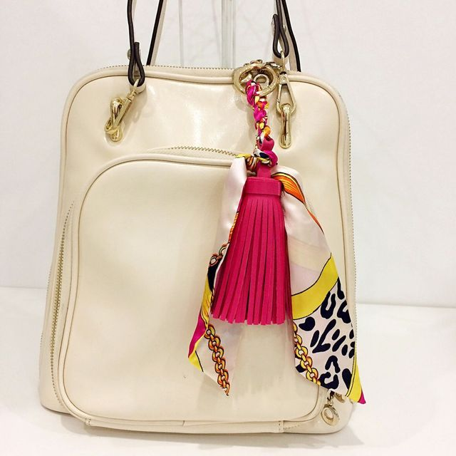 Bag Charm Tassel Leather Keychain Cute Luxury Scarf Metal Keyring Holder 2017 Handbag Purse Hand