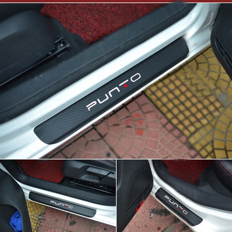For Fiat punto Carbon Fiber Vinyl Sticker Car Door Sill Protector Scuff Plate Car Accessories Car Styling alexika grand comfort olive 9372 0007