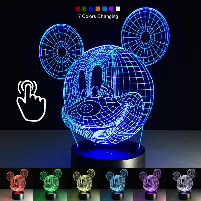 Colourful Mickey Mouse 3d Table Lamp Luminaria Led Night ...