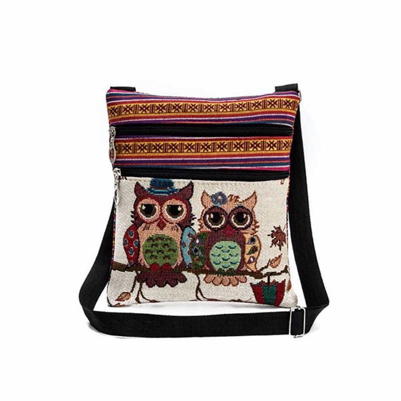Saco de compras de saco de compras barato o0430 #30 coruja bordada tote sacos de ombro das mulheres bolsas do pacote do carteiro da embreagem
