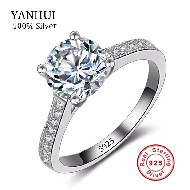 Prix pour Réel Solide Argent Anneaux De Mariage Pour Les Femmes 925 Sterling Argent anneaux set 1 carat sona cz diamant bague de fiançailles bijoux YHR128