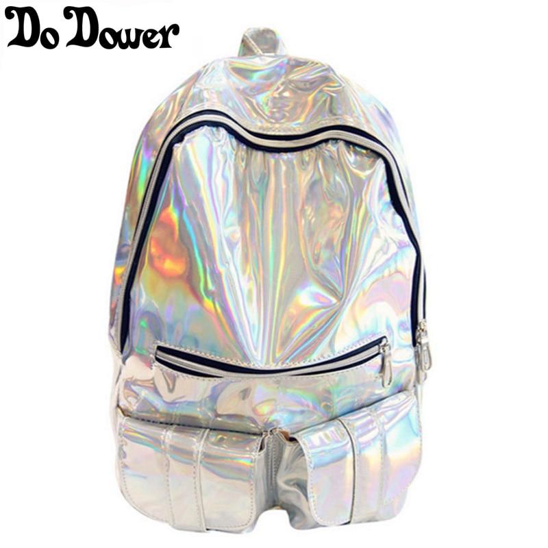women backpack silver holographic backpack bag laser back pack Female bag hologram backpack daypack sac a dos mochila masculina