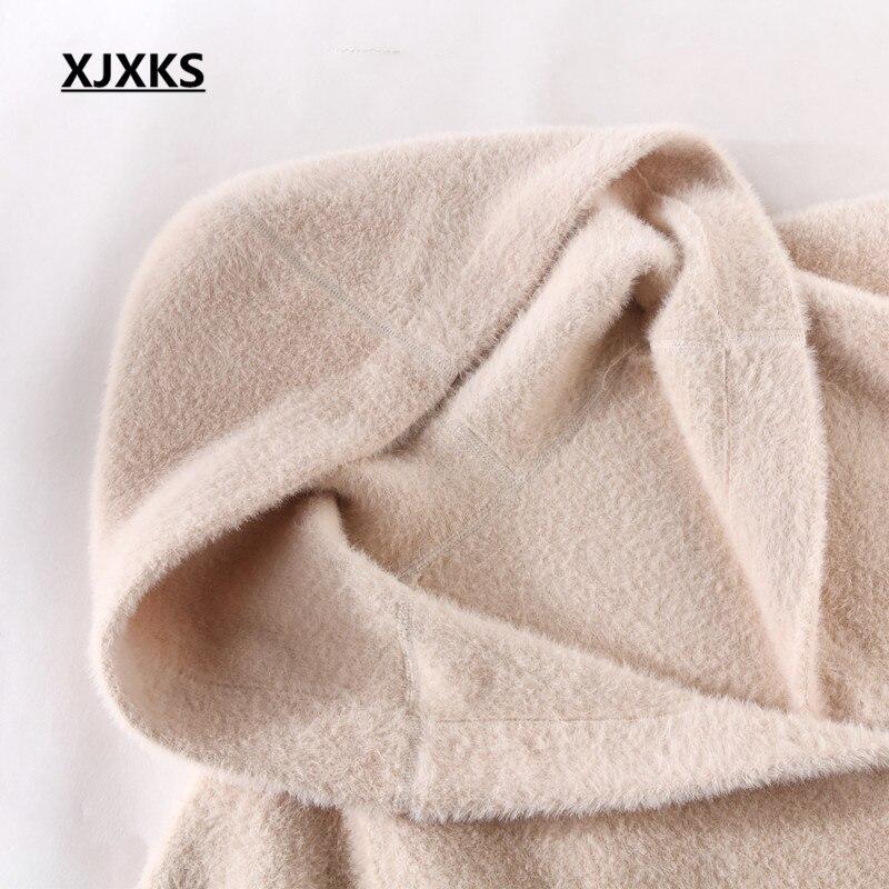 Plus La Manteau 2018 caramel Occasionnels Femmes Vison Haut Beige Nouveau À Gamme De Capuche Confortable Cachemire Xjxks pourpre rouge Lâche Veste Hiver Taille Laine HxZqn5S