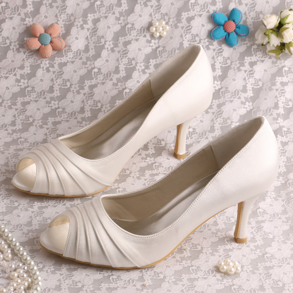 Top Selling Cream Open Toe Women Pumps Bridal Shoes