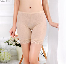 Trish Bella 2018 new Ice silk perspective No trace Jacquard weave Lace short pants women fee safety boxer femme plus size