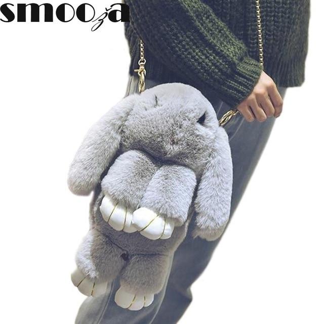 SMOOZA Dead Rabbit Bags Women Rex Rabbit Fur Chain Shoulder Bag cute  Multifunctional for Girls Funny messenger bags-in Shoulder Bags from  Luggage   Bags on ... 7ac4ccb16b8a8