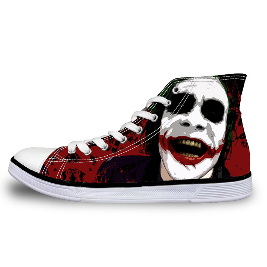 NOISYDESIGNS Men High-top Canvas Shoes Cool Joker Harley Quinn Print Lace Up Male Vulcanize Shoes Man Student Flat Sneaker Homme eyelet lace botanical print top