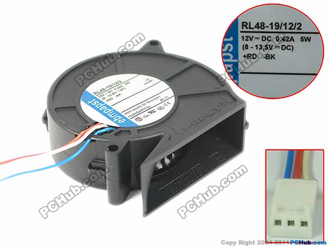 ebmpapst RL48-19/12/2 RL48-19 Server Blower Fan DC 12V 0.42A 3-wire free shipping for copal f310ta dc 12v 3 wire 3 pin 30x30x10mm server square fan