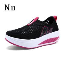 Hot Selling 2016 Fashion Floral Print Leather Platform Evelator Shoes Women Swing Wedge Casual Shoes 5