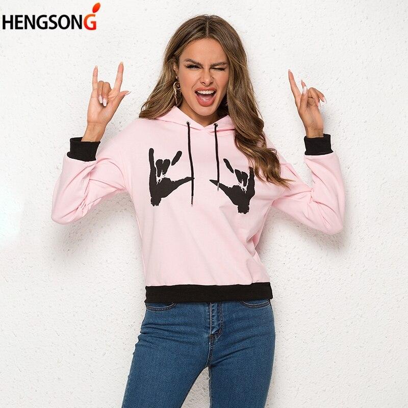 Fuck Style Rock Hoodies Women 2019 Autumn Spring Sweatshirts Women's Hoodie Gesture Printed Sweatshirt Female Harajuku Pullover