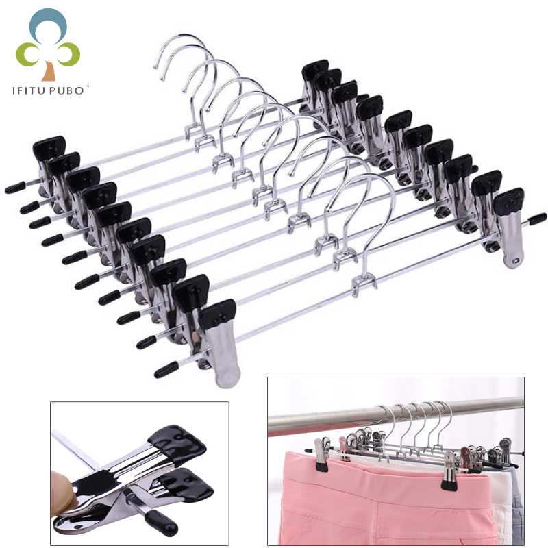 5Pcs/Lot Hangers For Clothes Stainless Steel Clip Stand Hanger Pants Skirt Kid Clothes Adjustable Pinch Grip Cabide GYH