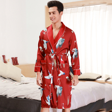 RB0353 2019 New Men Robes Satin Silk Sleepwear Male Printed Bathrobe Spring Summer Long Sl