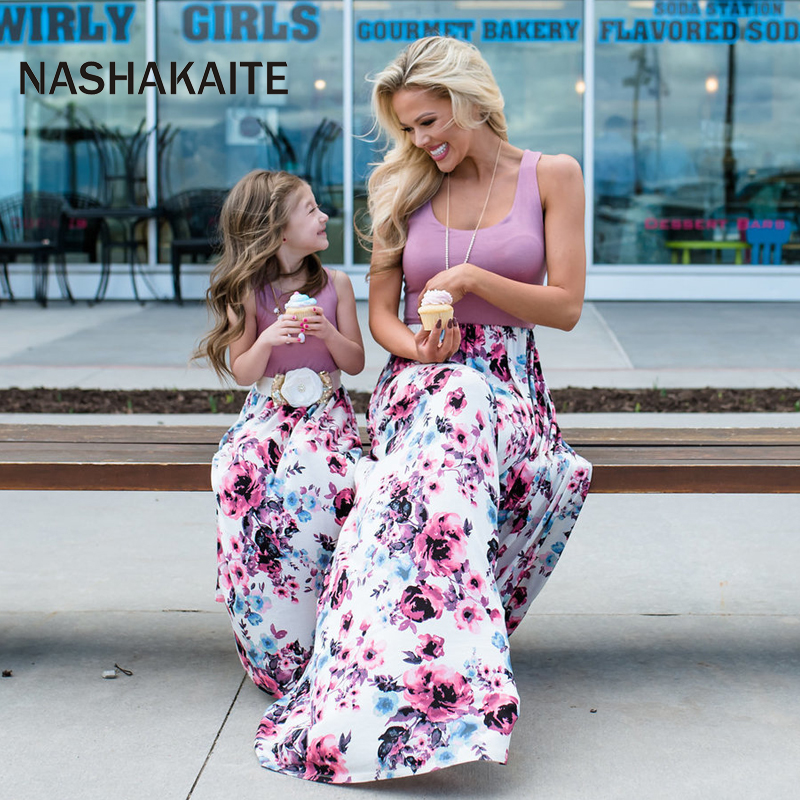 Mother Daughter Dresses Sleeveless Floral Long Dress Mother And Daughter Clothes Mom And Daughter Dress Family Matching Clothes(China)