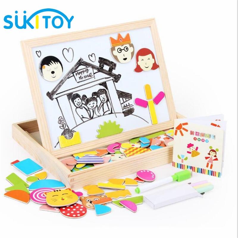 Kid's Soft Wooden Tegning Magnetic Puzzle Set med Blackboard og - Læring og utdanning - Bilde 2