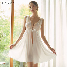 Caiyier Silk Satin Nightgown Sexy Lace Lingerie Sleepwear Dress V-Neck Nightdress For Women Nightwear front or reverse worn