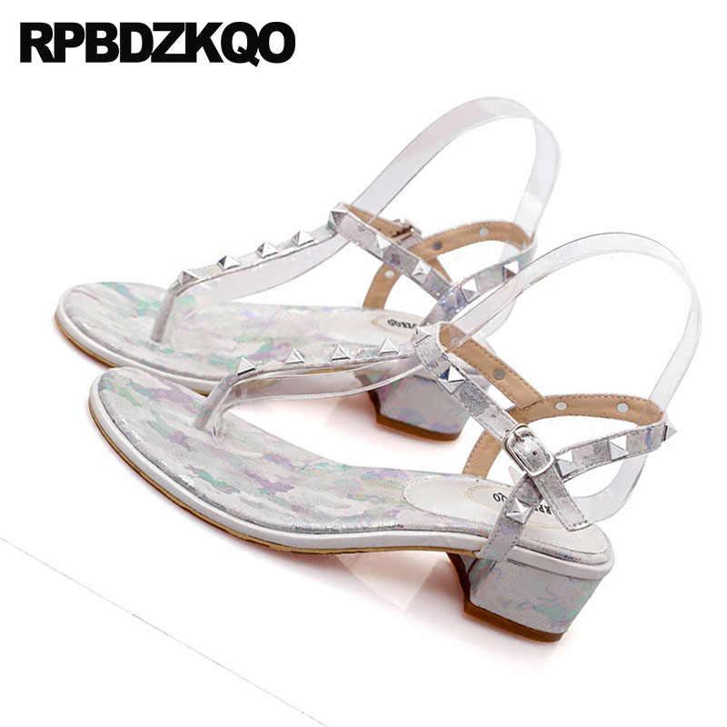 61f1fc81ffe ... Low Heel Women Big Size T Strap Sandals Flower Rock Stud Shoes Thong  Silver Chunky Pumps ...