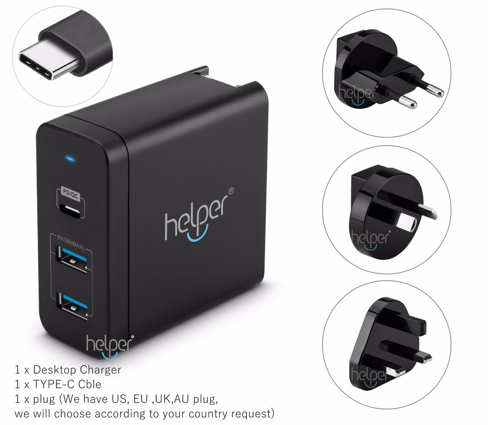 USB-C Type-C PD Charger Power Delivery QC 3 Port Fast Charger for Nintendo Switch IPAD Pro XiaoMi Air 13.3
