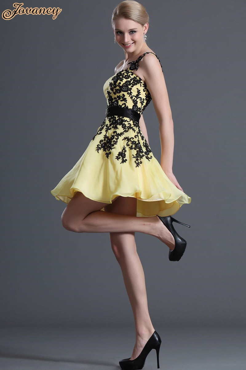 Best selling black lace one shoulder graduation dress yellow white blue short graduation gown 2015 free shipping in homecoming dresses from weddings