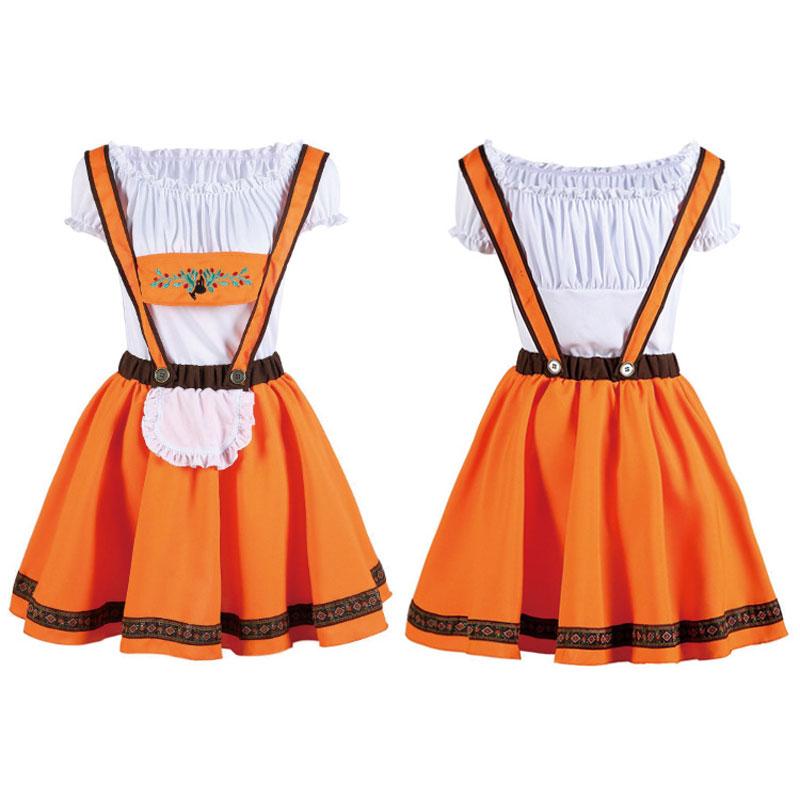 Umorden Orange Oktoberfest Costume Beer Girl Bavarian Guy Lederhosen Fantasia Adulto Cosplay Halloween Costumes For Women Men