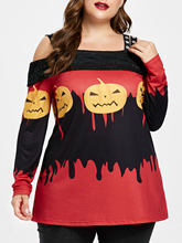 Kenancy Plus Size Halloween Open Shoulder Shirts 4XL 5XL Cut Out Blouse Long Sleeves Pumpkin Lamp Lace Patchwork Feminino Blusas(China)