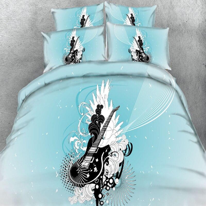 100%cotton 4pcs music guitar blue&red bedding set twin