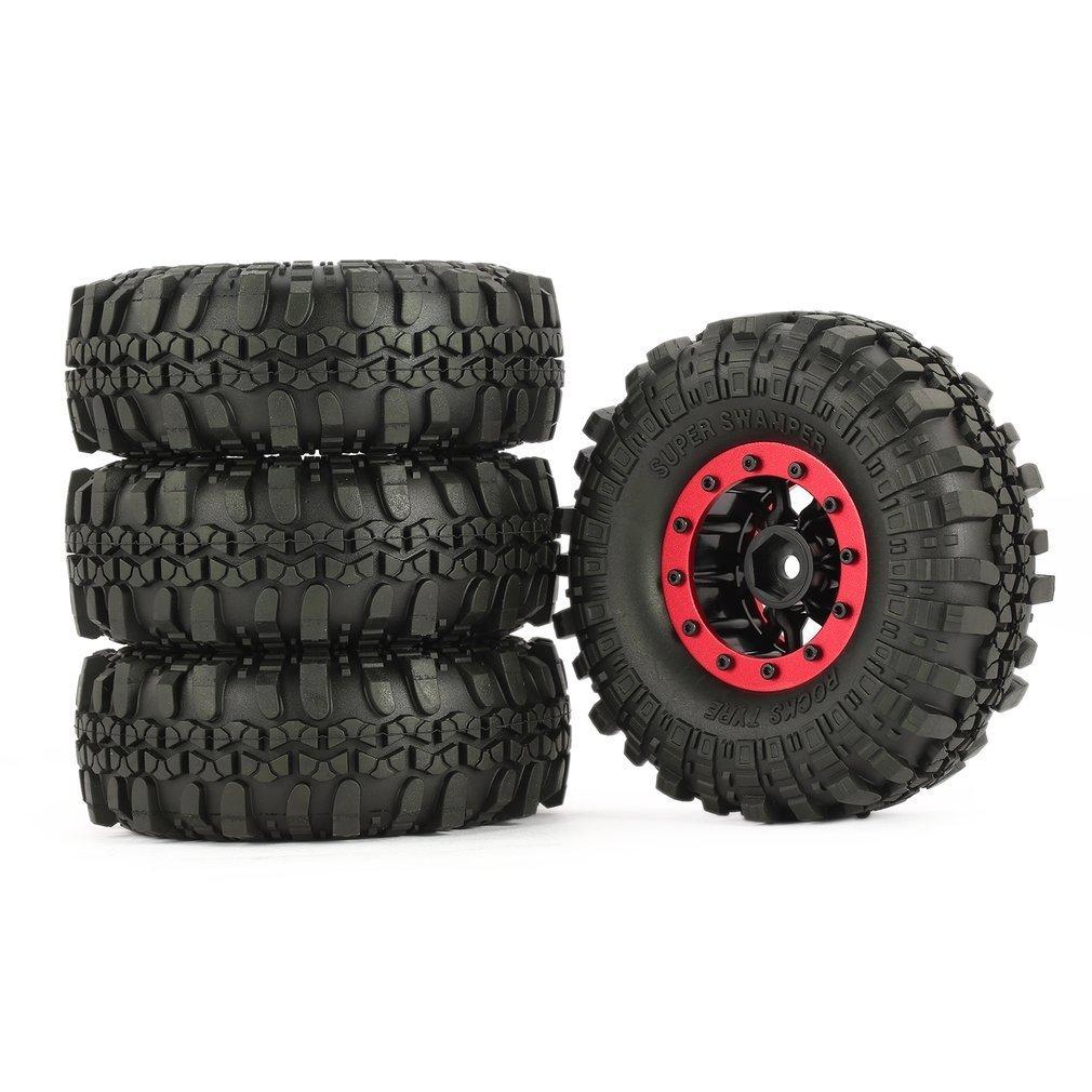 4Pcs AX 4020 110mm <font><b>1</b></font>.<font><b>9</b></font> Inch Rubber Tire with Alloy Beadlock Wheel Rim for AXIAL SCX10 90046 RC4WD D90 <font><b>1</b></font>/10 RC Rock Crawler Car