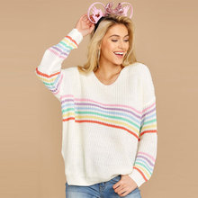 Rainbow Sweater Women Jumper Modis Pullover Winter Clothes Sweaters Woman Streetwear Jumpers Knitted Tops For Womens Clothing sweaters modis m182w00296 jumper sweater clothes apparel pullover for female for woman tmallfs