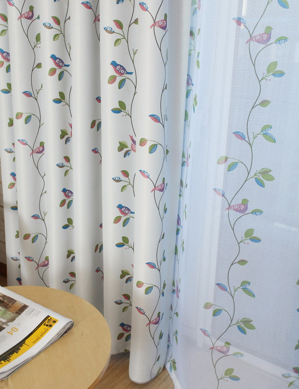 Bird sheer curtains - Printed Bird Blackout Curtains For Living Room Window Cortina Blackout Full Blind Curtains For Bedroom