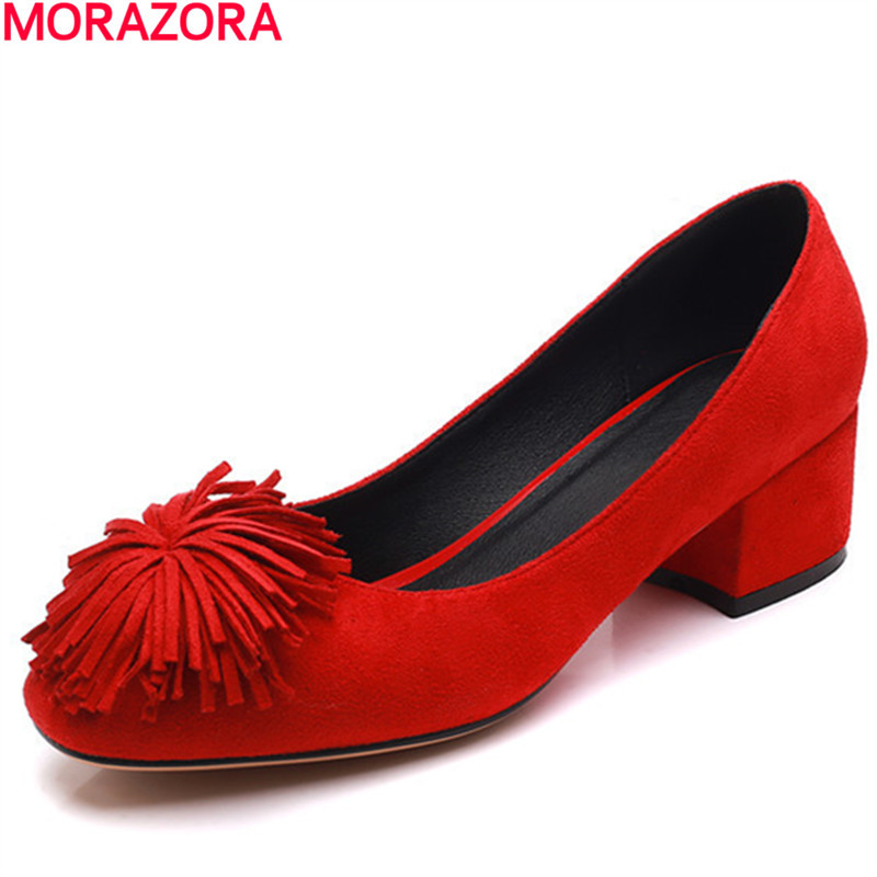 MORAZORA new square toe spring female pumps shallow slip on high heels square heel sweet wedding shoes ladies shoes size 34-42 meotina women wedding shoes 2018 spring platform high heels shoes pumps peep toe bow white slip on sexy shoes ladies size 34 43