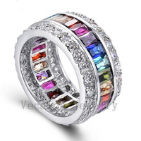 Vecalon Women Fashion Jewelry Ring 15ct Mutil Gem Cz Diamond 925 Sterling Silver Engagement Wedding Band
