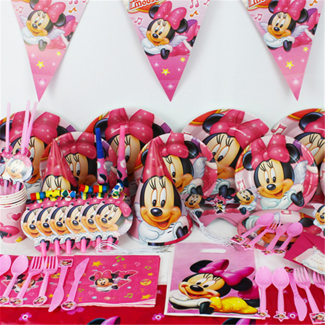 78pcslot Cartoon Minnie Mouse Party Decor for Children Birthday