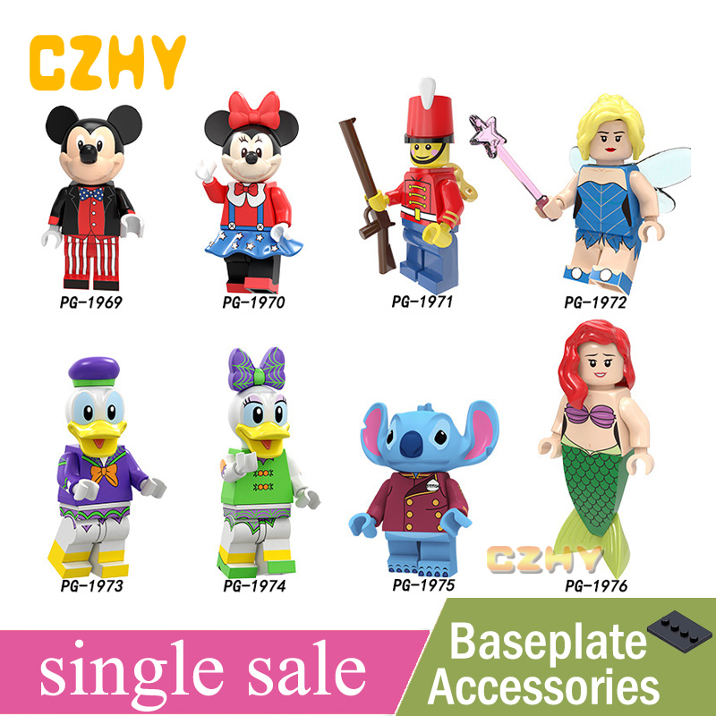 Pumping Series Building Block Collection Toys Mickeys Mouse Minnie Nutcracker Fairy Duck Daisy Stitch Ariel Action Figure PG8225(China)