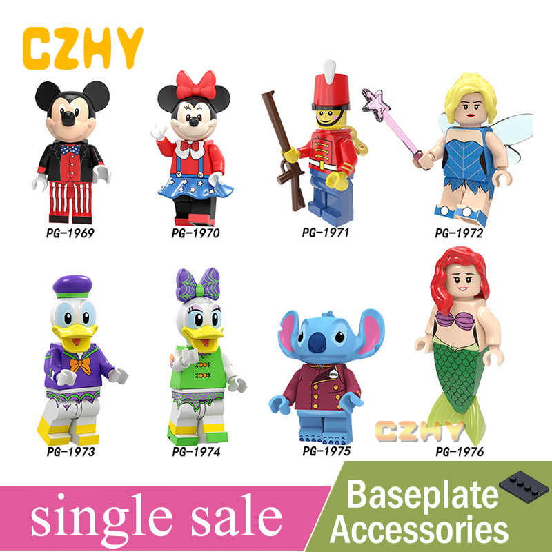 สูบน้ำชุดอาคารบล็อกของเล่น Mickeys เมาส์ Minnie Nutcracker Fairy เป็ด Daisy Stitch Ariel Action Figure PG8225