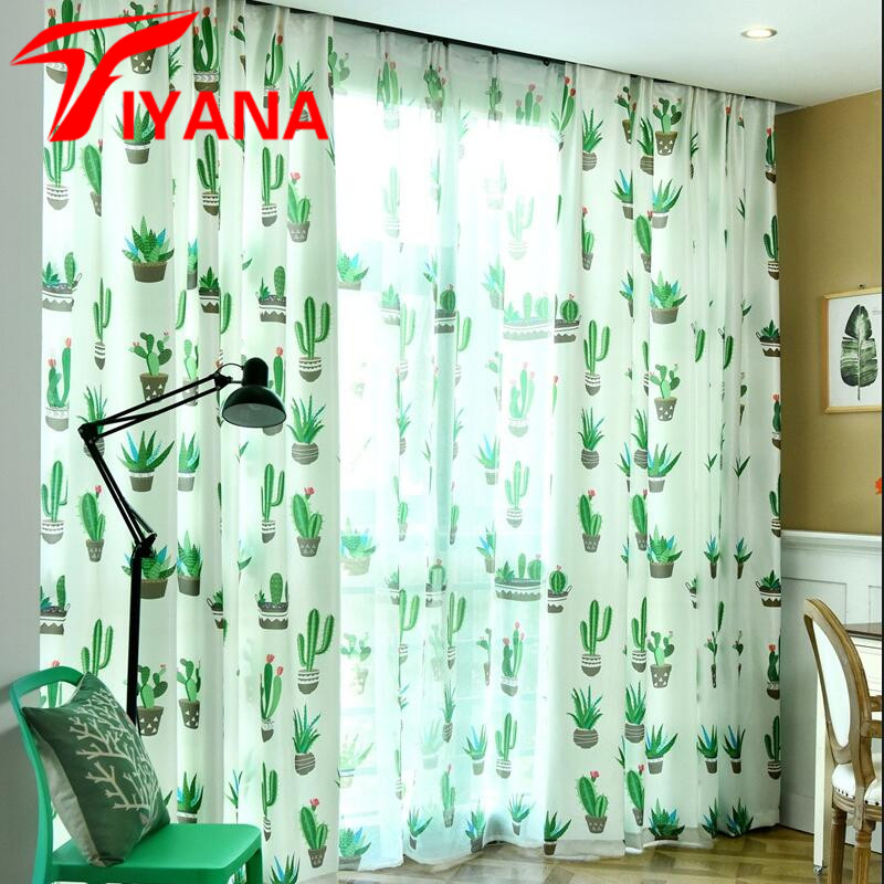New Kitchen Curtains For Less: Modern Nordic Plant Custom Curtain For Living Room Study