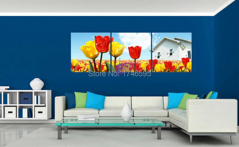 3pcs Big Size Modern Abstract Living Room Home Decor Wall Art Picture Canvas  Art Prints Red Yellow Tulip Flower Printed Painting