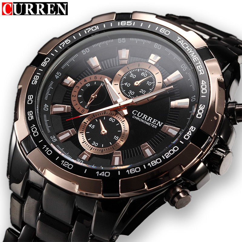Relogio Masculino Curren Mens Watches Top Brand Luxury Gold Black Full Steel Quartz Watch Men Casual Military Sport Male Clock curren 8023 mens watches top brand luxury stainless steel quartz men watch military sport clock man wristwatch relogio masculino