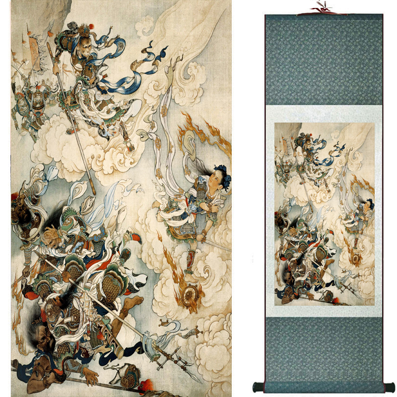 The monkey king caused havoc in heaven art painting silk scroll painting Monkey King Wreaks Havoc in Heaven painting 2018082450(China)