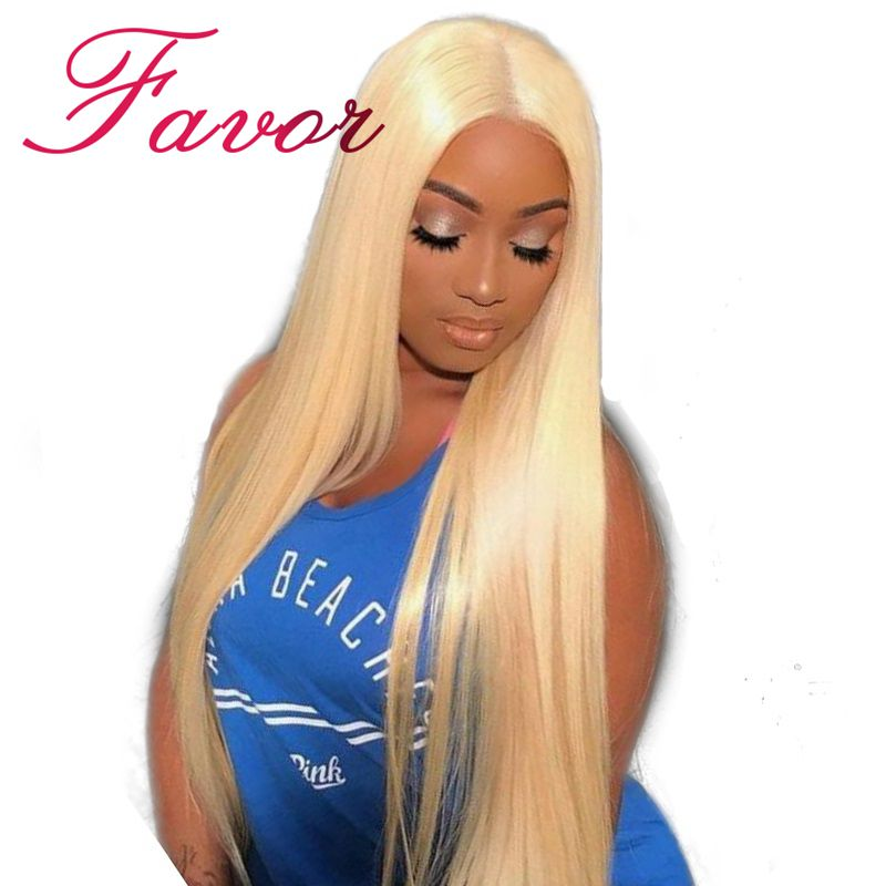 Silky Straight 613 Blonde Lace Front Human Hair Wigs 180% Density Brazilian Lace Front Remy Hair Wig Pre Plucked Favor Hair 8 24